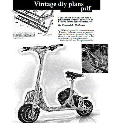 build your own Petrol Scooter vintage diy project plans Electric Free P&P