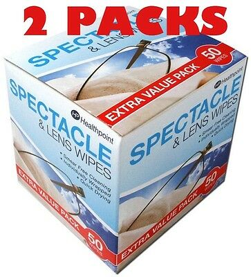 2 X 50 Healthpoint Spectacle and lens wipes Beauty formulas  Glassess sunglasses
