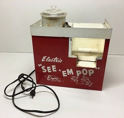 "Vintage Popcorn Popper Empire Metal Ware Toy Co Electric ""See 'em Pop"" Works"
