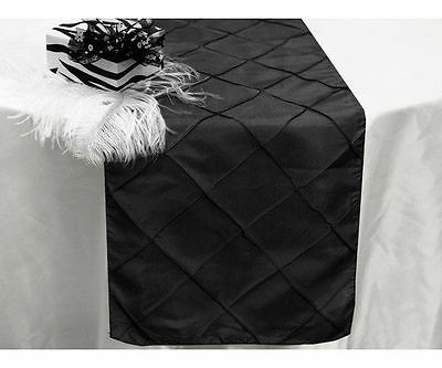 275cm Pintuck Table Runner Black Wedding Party Table Decoration New