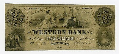 1853 $2 The Western Bank - Plymouth, INDIANA Note