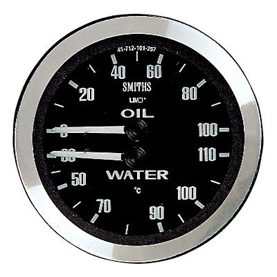Smiths Classic 52mm Black Bezel Dual Water Temperature / Oil Pressure Gauge