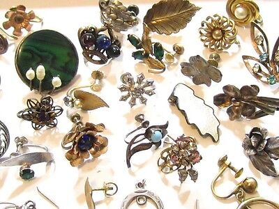 Floral Vintage Sterling Silver & Gold Filled Single Earrings Jewelry Lot*D933