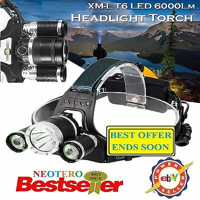 Powerful LED Headlight Torch 6000LM 3x XM-L Waterproof Rechargeable T6 Headlamp