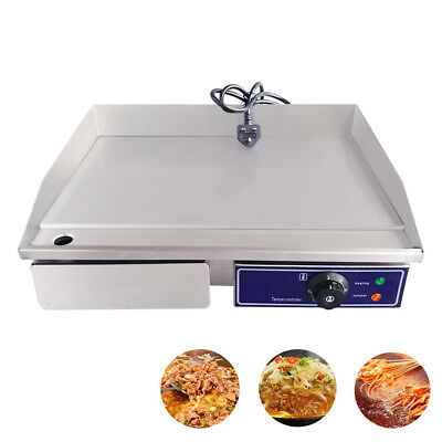 Commercial Electric Griddle BBQ Grill Large Hotplate Bacon Egg Fryer Countertop