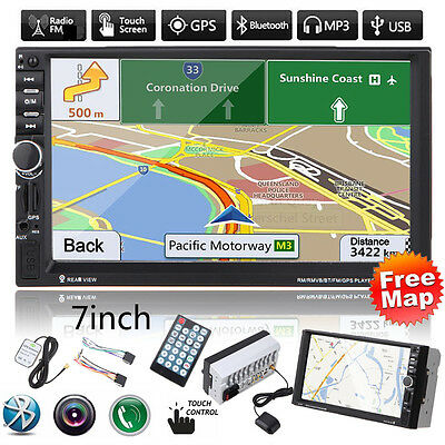 "GPS Navi 7"" HD Double 2 DIN Car Stereo Radio In Dash MP5 MP3 Player FM/USB +Map"