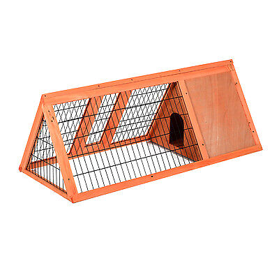 Pawhut Rabbit Hutch Wooden House Bunny Small Animal Habitat Cage Run Backyard