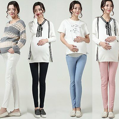 Pregnant Women Over Bump Pants Cotton Maternity Casual Leggings Trousers Clothes
