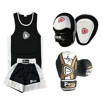 Kids Black Crunch 3 Pcs Uniform + Real Leather Gloves 1017  + Focus Pads Set-22