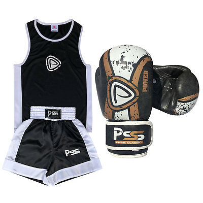 New Kids Boxing Uniform set 2 Pcs Uniform + Gloves (Real Leather) 1017 Black