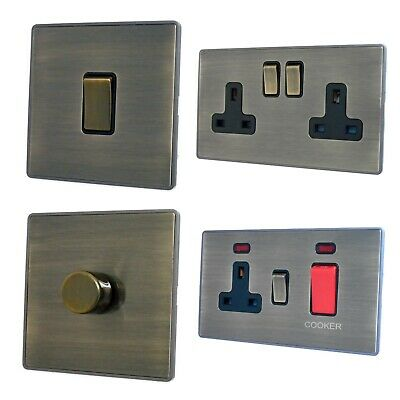 Screwless Plate Antique Bronze LAB3 Switches, Sockets, Dimmers, Cooker, Fuse, TV