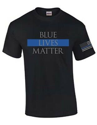 Blue Lives Matter Thin Blue Line With Flag Sleeve Print Support T-Shirt
