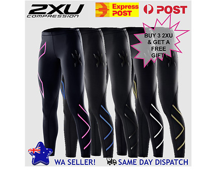 2XU Long Women Compression Tights Pants|Pink Blue Black Silver Gold|Free Postage