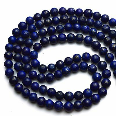 Afghanistan Lapis Lazuli Dark Blue Color 7.5MM Smooth Round Beads Necklace 19""