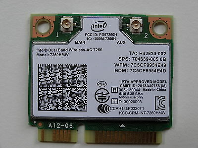 Intel HP 7260AC 802.11ac BT 4.0 DUAL BAND WiFi WLAN Wireless Card 7260HMW - W009