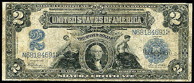 """Fr. 252 1899 $2 Two Dollars """"mini Porthole"""" Silver Certificate Currency Note"""