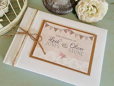 Personalised Rustic Ivory/white Wedding Guest Book- Bunting/damask Rose