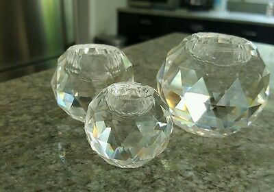 set of 3 Retired Swarovski Austrian Crystal  Balls  Art Glass Candleholders