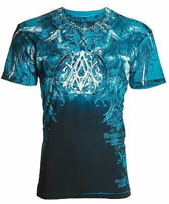 ARCHAIC by AFFLICTION Mens T-Shirt FURNACE Wings BLUE Tattoo Biker MMA UFC $40