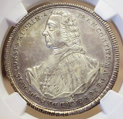 1761 Fh Silver Constance German State 1/2 Thaler Coin Ngc About Uncirculated 58