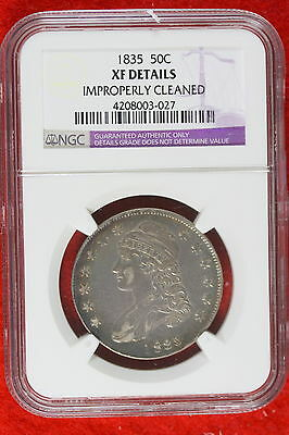 1835 NGC XF DETAILS IMPROP CLEANED CAPPED BUST Half Dollar! #E1422