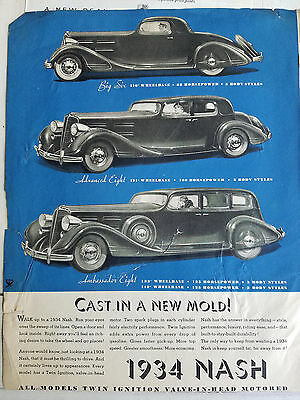 1934 Nash Bix Six Advanced Eight Ambassador Eight Car  Color Ad AS IS