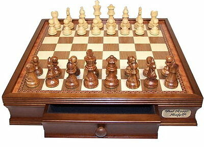 "Dal Rossi Chess Set 16"", with Boxwood/Sheesham 85mm pieces Wood Double Weighted"