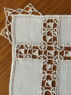 """Vintage 10 Pure Linen and Reticella Placemats 11.5"""" x 17"""""""