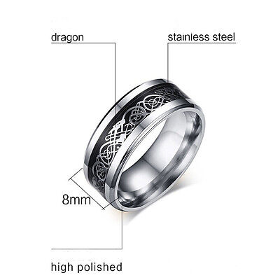 Men's Silver Celtic Dragon Titanium Stainless Steel Wedding Band Rings Hot