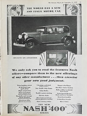 1928 Nash 400 Series Advanced Six Ambassador Car Original Ad