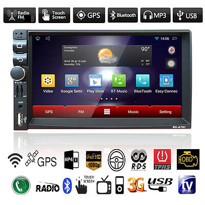 Android Double 2 Din Car Bluetooth MP3 MP5 Player GPS Nav Stereo FM Radio USB TF