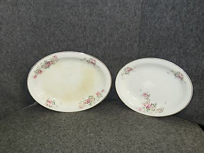 "Antique W.S George Derwood Pink/White Rose Pattern 10"" & 11"" Platters"