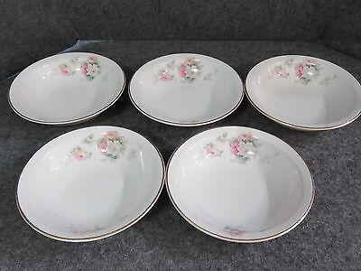 "Antique W.S George Derwood Pink/White Rose Pattern - 5 1/2""  Dessert Bowls (5)"