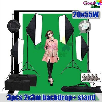 2x3m Black White Green Backdrops Video Softbox Lighting Soft Box Light Stand Kit