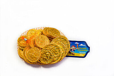 5 X Chocolate Gold Coins Bags - 80G  -  Kids Party Lollies