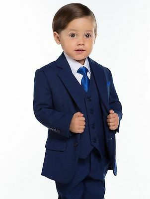 Custom Size Cute Boys' Navy Suits Children's Formal Wedding Tuxedos Kids' Suits