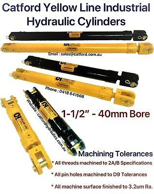 """Catford Yellow Line, Hydraulic Clevis Cylinder / Ram 1-1/2"""" Bore"""
