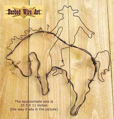 Bronco Rider - handmade horse equine rodeo barbed wire art western decor wall