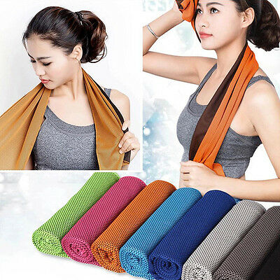 Quick Dry Absorbent Ice Cold Towel Travel Yoga Sports Gym Washcloth Chilly Pad #