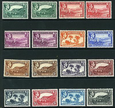 MONSTERRAT-1938-48  A mounted mint set to £1 + some additional shades Sg101-112