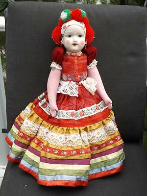 "17"" Bisque Porcelain Hungarian European Jointed Doll"