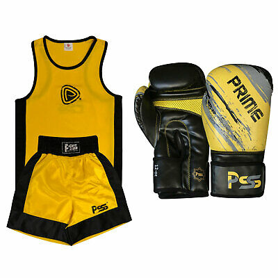 Yellow Kids Boxing Uniform Set Top & Short Age 3-14 Years Boxing Gloves 1012