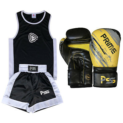 Black Kids Boxing Uniform Set Top & Short Age 3-14 Years Boxing Gloves 1012Black