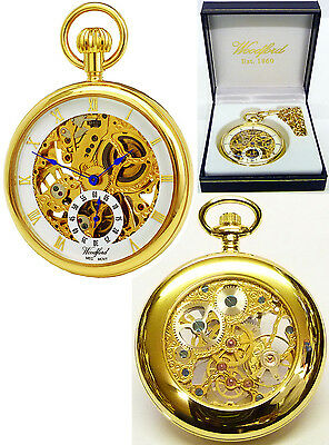Woodford Open Face Skeleton Pocket Watch GP with Free Engraving (1044)