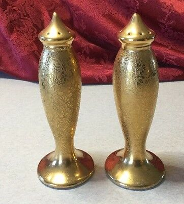 Pickard China  Gold Encrusted  Tall Salt And Pepper Shakers Approx. 4 3/4""