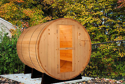 Barrel Sauna, Red Cedar, Electric Heater Included, 8 Feet, Fits 6 (BRT-68-C)