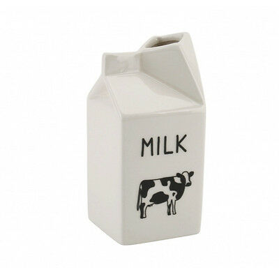 Cow Design CERAMIC MILK Carton JUG - Farmhouse Kitchen Breakfast Gift. Tableware