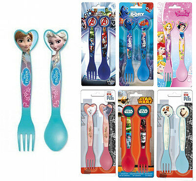 Kids Disney 2 pc Cutlery Plastic Fork Spoon Dinner Set Brand New Gift