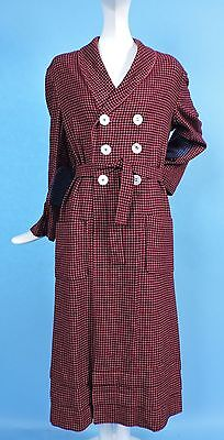 1940'S Red & Black Check Wool Double Breasted Robe W Belt