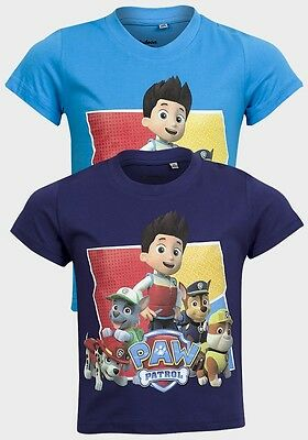 Children's Boy's Paw Patrol T-Shirts/tops 2 - 8 Years - Choice Of 2 Colours